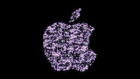 4k a futuristic circuit board with moving electrons shaped apple inc trademark.