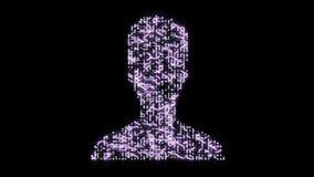 4k futurystyczna obwód deska z poruszającymi elektronami kształtował użytkownika symbol, portret ikona, elektroniczni związki