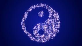 4k futurystyczna obwód deska z poruszającymi elektronami kształtującymi Ukierunkowywają taiji symbol
