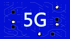 4k 5G σύμβολο, ένας φουτουριστικός πίνακας κυκλωμάτων με την κίνηση των ηλεκτρονίων, επικοινωνία απόθεμα βίντεο