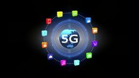 4k 5G symbol, pojęcie, online usługa ikony, ogólnospołeczni środki wokoło płodozmiennej ziemi royalty ilustracja