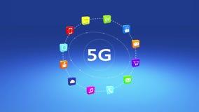 4k, 5G symbol, wirtualny interneta pojęcie, online usługa ikony, ogólnospołeczni środki royalty ilustracja