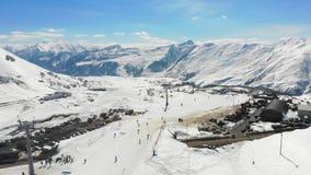 4k Gauduri鸟瞰图,全景的滑雪场 股票视频