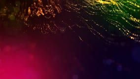 4k geef van gloeddeeltjes terug als abstracte naadloze dynamische achtergrond met diepte van gebied en bokeh Science fiction of stock video