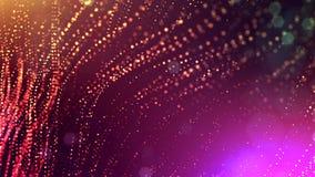 4k geef van gloeddeeltjes terug als abstracte naadloze dynamische achtergrond met diepte van gebied en bokeh Science fiction of stock videobeelden
