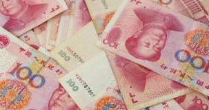 4k Geld Renminbi Rmb 100 Yuan Notes, Mao Zedong-Führer Avatar stock footage