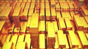 4k Gold bullion gold bars treasury wealth Ingot luxury finance goods trading. stock video footage