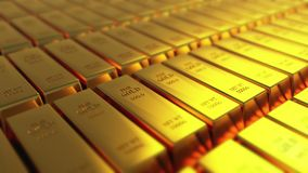 4k Gold bullion gold bars treasury wealth Ingot luxury finance goods trading.