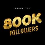 800k gold internet follower number thank you card. 800000 followers thank you gold paper cut number illustration. Special 800k user goal celebration for eight royalty free illustration