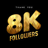 8k gold internet follower number thank you card. 8000 followers thank you gold paper cut number illustration. Special 8k user goal celebration for eight thousand Royalty Free Stock Photos
