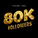 80k gold internet follower number thank you card. 80000 followers thank you gold paper cut number illustration. Special 80k user goal celebration for eighty Royalty Free Stock Photos
