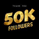 50k gold internet follower number thank you card. 50000 followers thank you gold paper cut number illustration. Special 50k user goal celebration for fifty Stock Images