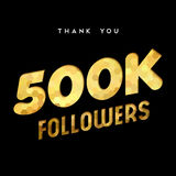 500k gold internet follower number thank you card. 500000 followers thank you gold paper cut number illustration. Special 500k user goal celebration for five Royalty Free Stock Photos