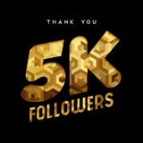 5k gold internet follower number thank you card. 5000 followers thank you gold paper cut number illustration. Special 5k user goal celebration for five thousand Stock Images