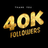 40k gold internet follower number thank you card. 40000 followers thank you gold paper cut number illustration. Special 40k user goal celebration for forty Stock Photography