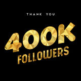 400k gold internet follower number thank you card. 400000 followers thank you gold paper cut number illustration. Special 400k user goal celebration for four Stock Image