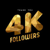 4k gold internet follower number thank you card. 4000 followers thank you gold paper cut number illustration. Special 4k user goal celebration for four thousand Royalty Free Stock Photos