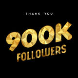 900k gold internet follower number thank you card. 900000 followers thank you gold paper cut number illustration. Special 900k user goal celebration for nine Stock Image