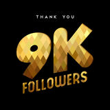 9k gold internet follower number thank you card. 9000 followers thank you gold paper cut number illustration. Special 9k user goal celebration for nine thousand Stock Photo