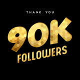 90k gold internet follower number thank you card. 90000 followers thank you gold paper cut number illustration. Special 90k user goal celebration for ninety Stock Image
