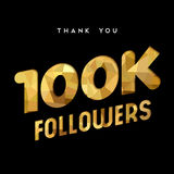 100k gold internet follower number thank you card. 100000 followers thank you gold paper cut number illustration. Special 100k user goal celebration for one royalty free illustration