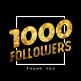 1k gold internet follower number thank you card. 1000 followers thank you gold paper cut number illustration. Special 1k user goal celebration for one thousand Vector Illustration