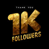 1k gold internet follower number thank you card. 1000 followers thank you gold paper cut number illustration. Special 1k user goal celebration for one thousand Stock Illustration