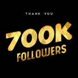 700k gold internet follower number thank you card. 700000 followers thank you gold paper cut number illustration. Special 700k user goal celebration for seven Royalty Free Stock Photography