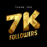 7k gold internet follower number thank you card. 7000 followers thank you gold paper cut number illustration. Special 7k user goal celebration for seven thousand Stock Photo