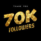 70k gold internet follower number thank you card. 70000 followers thank you gold paper cut number illustration. Special 70k user goal celebration for seventy Royalty Free Stock Photography