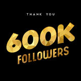600k gold internet follower number thank you card. 600000 followers thank you gold paper cut number illustration. Special 600k user goal celebration for six royalty free illustration