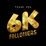 6k gold internet follower number thank you card. 6000 followers thank you gold paper cut number illustration. Special 6k user goal celebration for six thousand Stock Image