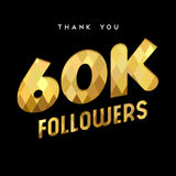 60k gold internet follower number thank you card. 60000 followers thank you gold paper cut number illustration. Special 60k user goal celebration for sixty Stock Photo