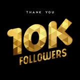10k gold internet follower number thank you card. 10000 followers thank you gold paper cut number illustration. Special 10k user goal celebration for ten Stock Photography