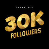 30k gold internet follower number thank you card. 30000 followers thank you gold paper cut number illustration. Special 30k user goal celebration for thirty Royalty Free Stock Images
