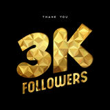 3k gold internet follower number thank you card. 3000 followers thank you gold paper cut number illustration. Special 3k user goal celebration for three thousand Stock Photos