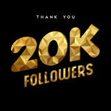 20k gold internet follower number thank you card. 20000 followers thank you gold paper cut number illustration. Special 20k user goal celebration for twenty Stock Photo