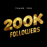 200k gold internet follower number thank you card. 200000 followers thank you gold paper cut number illustration. Special 200k user goal celebration for two Stock Photo