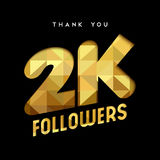 2k gold internet follower number thank you card. 2000 followers thank you gold paper cut number illustration. Special 2k user goal celebration for two thousand stock illustration