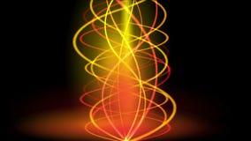 4k Gold spiral fire line smoke.energy signals,warm glow rhythm vibration wave. stock video footage