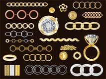 14k Gold, White Gold, Rose Gold royalty free illustration