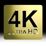 4k golden. Gold 4K ultra HD sign  on black background with clipping path include Stock Photo