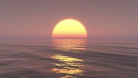 4k grande hausse de Sun au-dessus d'océan, laps de temps de lever de soleil banque de vidéos