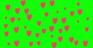 4K Green screen heart, many hearts . heart pink on backdrop Background of hearts, canvas, clipart of hearts. cartoon