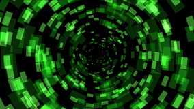 4k Green square array background,tech Science fiction tunnel hole energy space. stock footage