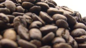 4k grillade kaffebönor roterar på vit bakgrund Ingrediens för kaffe lager videofilmer