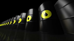 4K. A group of black new oil barrels. stock video