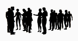 4k a group of Business people silhouette talking. stock illustration