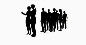 4k Group Of People Waiting In Line,Business people silhouette talking. stock footage