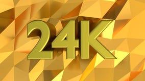 24K Hallmark on gold pattern background. 24K carat Hallmark on shiny gold pattern background. 3d rendering stock illustration
